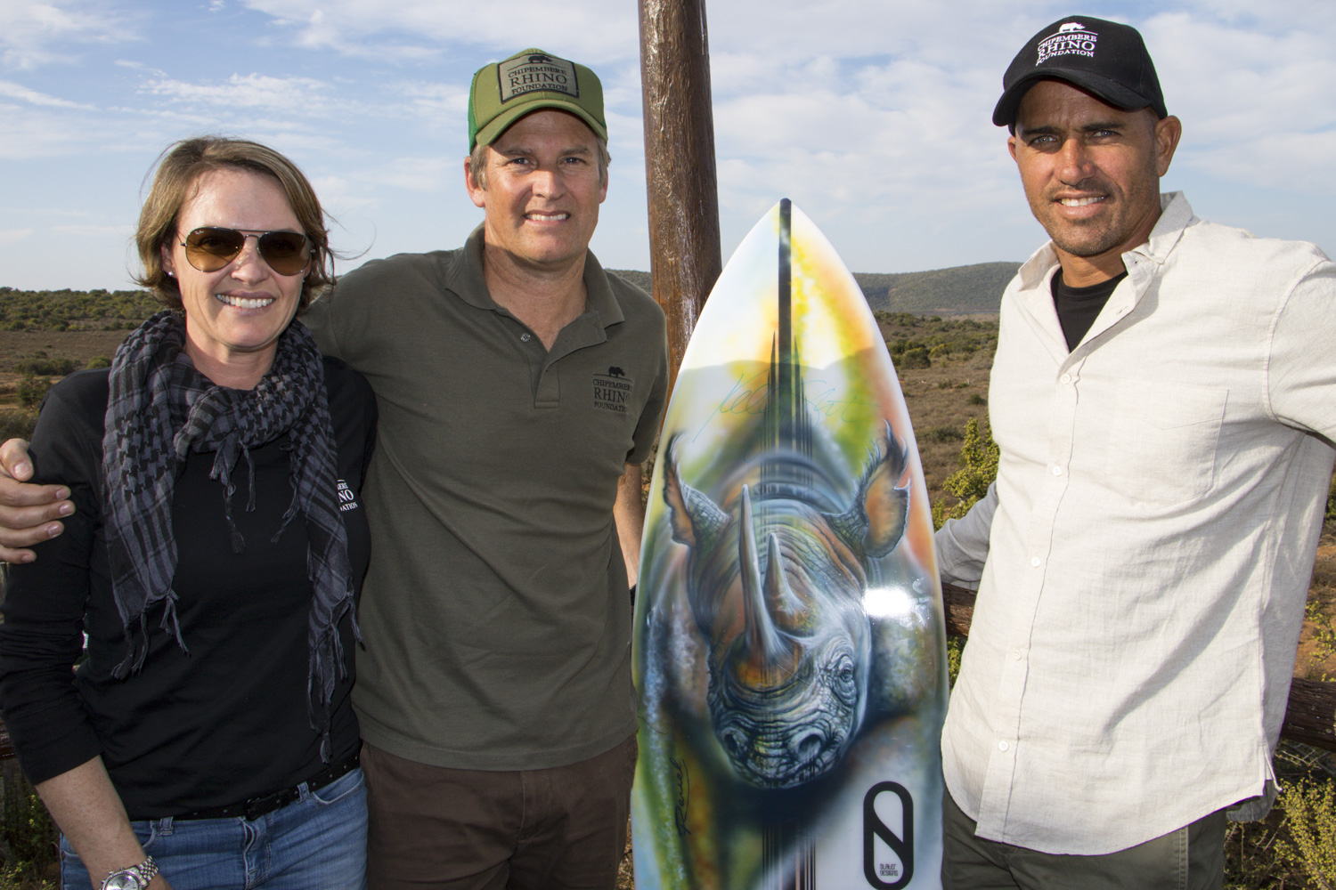 Kelly Slater with Chipembere Founders Brent & Chantelle